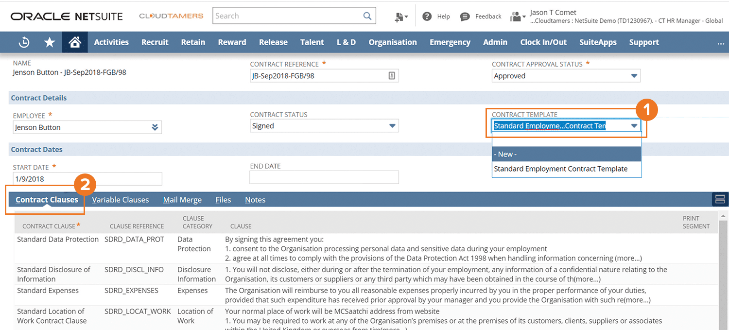 CloudTamers Contract Management for NetSuite screenshot